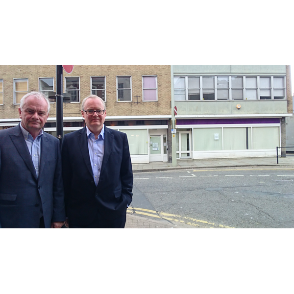 Jeremy Hilton & Declan Wilson outside the proposed much smaller public advice reception on Westgate Street