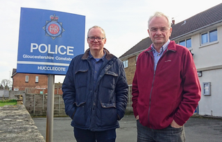 Declan Wilson and Jeremy Hilton outside Hucclecote police station
