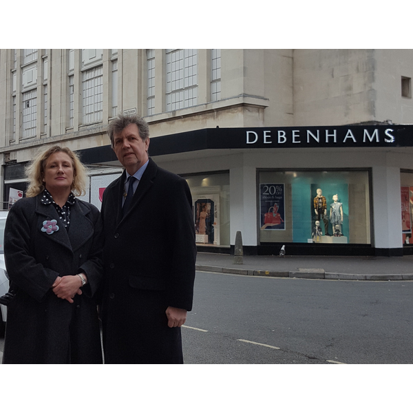 Isabel Brazil and David Brown outside Debenhams