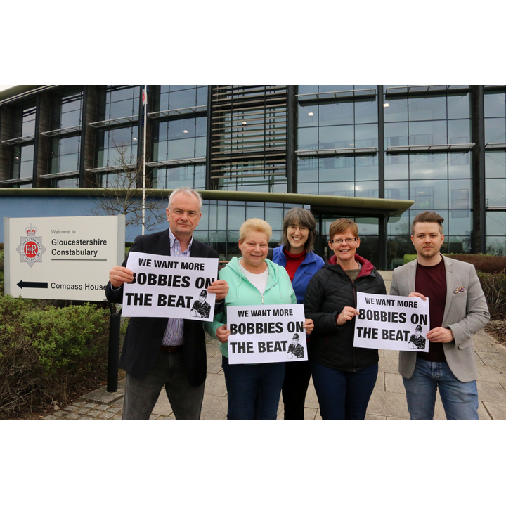 Rebecca Trimnell and Lib Dem campaigners outside police HQ