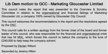The Lib Dem Marketing Gloucester motion