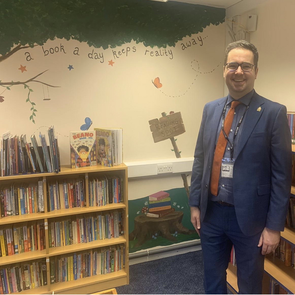 Sebastian Field in Grange Primary School'ss library