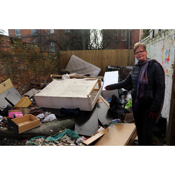 Rebecca Trimnell and the fly tipped rubbish