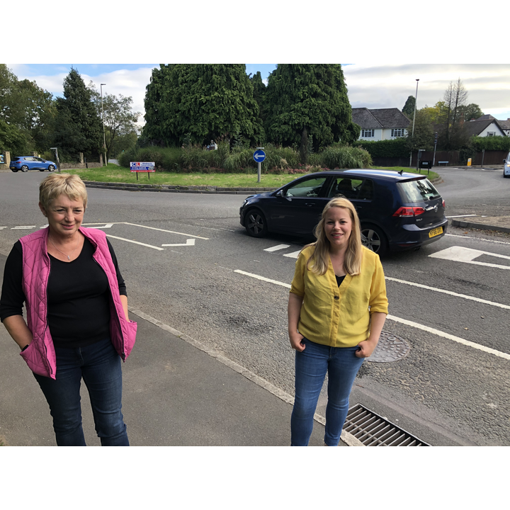 Sarah Sawyer and Linda Castle at Cheltenham Road roundabout