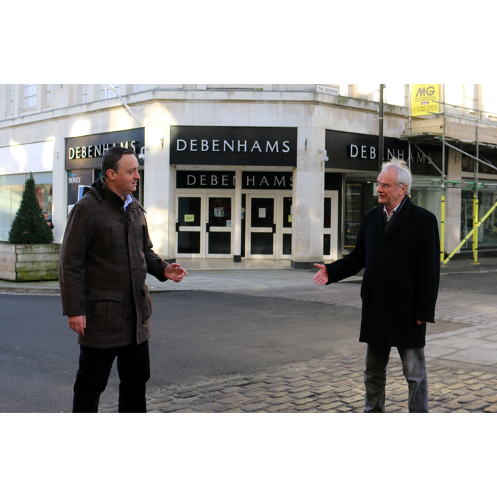 Councillors Ashley Bowkett and Jeremy Hilton outside Debenhams in Kings Square