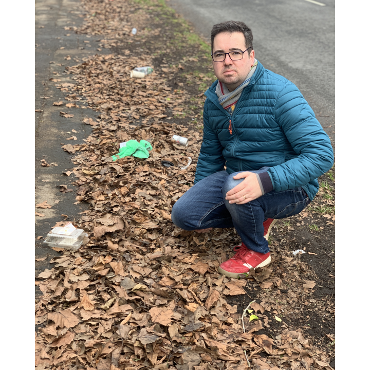 Councillor Sebastian Field and litter